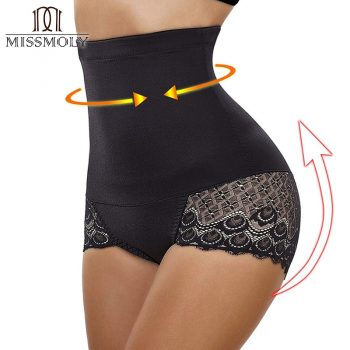 Miss Moly Women High Waist Tummy Control Shapewear Body Shaper Lace Seamless Panties Slimming Cincher Corset Waist Trainer