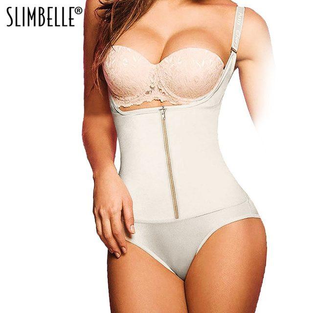 Cup Lace Bodysuit Seamless Firm Control Shapewear Faja Zippers 3 Hooks Eyes Open Bust Bodysuit Full Body Shaper Waist Trainer Corset Top