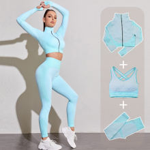 Winter Fashion Trends, Seamless Women Yoga Gym Sports Suits Fitness Workout Running Clothing Sportswear Long Sleeve Crop Top Leggings Bra Athletic Set